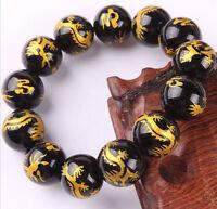 Cool men 14mm big black agate carving golden dragon beads fashion bracelet