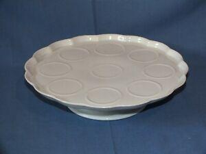 - Ancien plateau présentoir de pots à crème en porcelaine blanche -