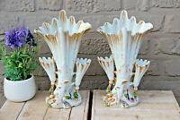PAIR Antique vieux paris porcelain pique fleur cornet Vases relief flower decor