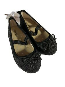 Cat & Jack Girls Shoes Size 6 Black Glitter Slip on Ballet Flats
