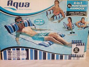 2  Aqua 4-in-1 Monterey Hammock XL Inflatable Pool Lounge, Chair, Drifter