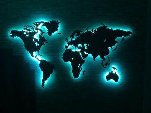 """""""M""""Led Weltkarte, Edelstahl,LED Bild, Edelstahl, Design-Weltkarte LED, 3D Effekt"""