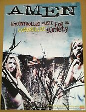 AMEN 2001 Retail PROMO POSTER for Self Titled CD never display USA   NEAR MINT