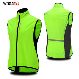 Men's Cycling Vest Reflective Sleeveless Jacket Windproof MTB Bike Racing Sports
