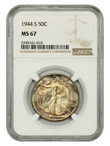1944-S 50c NGC MS67 - Beautiful Rainbow Toning, Tied for Finest Known