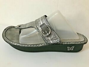 Algeria Carina Chain Mail Silver Thong Leather Sandals Women's Euro 41 (US 10)