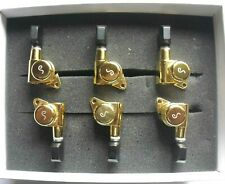 Schaller M6 Locking Tuners 135° 6 links Gold small Ebony buttons