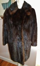 Vtg Plush Hand Made Shawl COLLAR Lined Fur Coat JACKET Dark Brown MINK