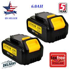 2XFor DeWalt 20V 20 Volt Max XR 6.0AH Lithium Ion Battery Pack DCB204-2 DCB206-2