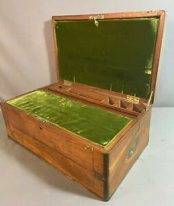 LG 19thC Antique VICTORIAN SECRETARY Lap DESK Old BRASS Inlay CAMPAIGN CHEST