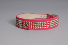 "Pink Bling Dog Collar, 17"". Made in the USA"