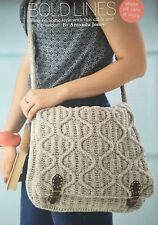 KNITTING PATTERN Ladies Cable + Ribbed Satchel Bag Shoulder School Blacker DK
