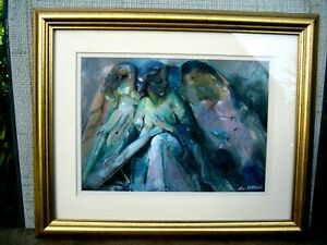 A watercolour painting Angel in the Churchyard Buxton by Sue Mitchell NW artist