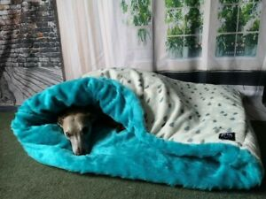 Teal /Silver Raindrops Cuddle Fleece Snuggle Wrap Cave Dog Beds