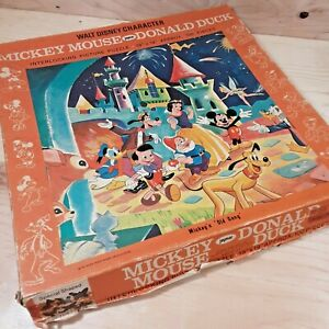 Vintage 1960's Mickey Mouse Donald Duck Walt Disney jaymar Jigsaw Puzzle 19 x 19