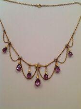 Antique Art Nouveau 15ct Gold  Amethyst & Baroque Pearl Pendant Necklace