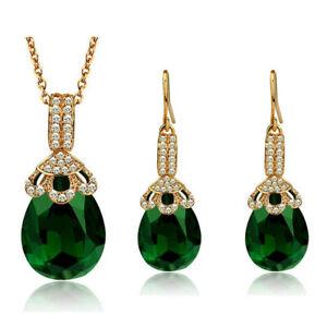 Luxury Crown Design Purple Red Green Drop Earrings Pendant Necklace Set Shiny