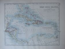 1894 VICTORIAN MAP ~ WEST INDIA ISLANDS CENTRAL AMERICA HAITI JAMAICA CUBA