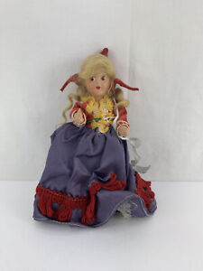 """Antique Composition Little Red Riding Hood Doll Long Red Hair Jointed Arms 7"""""""
