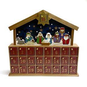Target Wooden Nativity Standing House Advent Christmas Calendar 25 Doors