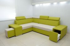 CORNER SOFA BERT WITH HEADRESTS, DRAWER IN THE ARM AND A FOOTSTOOL KIWI/CREAM