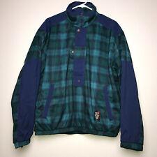 Sunice Golf Jacket Gortex Pullover Green Blue Plaid 1/2 Zip Side Pockets Medium