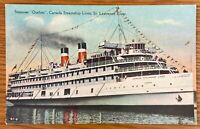 CANADA STEAMER QUEBEC CANADA STEAMSHIP LINES ST LAWRENCE RIVER POSTCARD C56