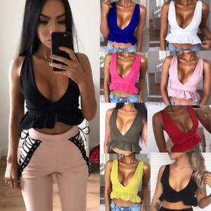 Fashion Womens Summer Short Crop Top Sleeveless Shirt Blouse Casual Tank Vest