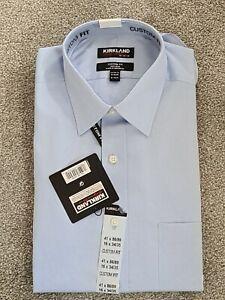 Kirkland Signature cotton mens  Custom Fit Blue Shirt Size 16 Collar