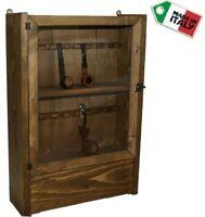 Vetrina per pipe portapipe 18 posti con cassetto in legno espositore bacheca