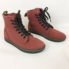 Dr Martens Martins Shoreditch Canvas Combat Maroon Boots Womens Size 6
