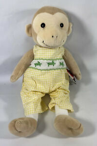"16"" Kelly Rightsell Tan Monkey With Yellow JUMPER FELT FIretruck Plush stuffed"