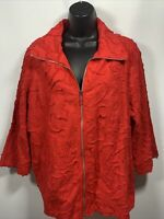 Susan Graver Womans Cotton Soutache Zip-Front Jacket Red Size Large A303337