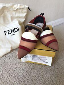 Fendi Colibri Flats NWB Authentic  Shoes Slingback Size 37