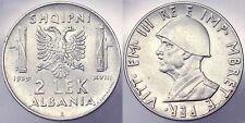 2 Lek 1939 Vittorio Emanuele III Albania Leggermente Magnetico #4438A