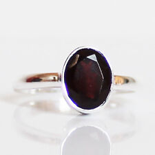 100% 925 Solid Sterling Silver Faceted Red Garnet Stone Ring - Size 9
