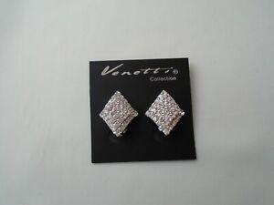 Clip On Raised Diamond Shape Crystal Stones Stud Earrings Silver Coloured New