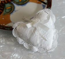 Hand Crochet Lace Ribbon Rose Embroidery Cotton Heart Shape Doily Satchel White