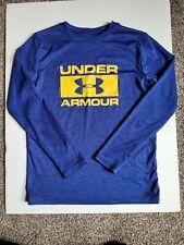 Boys Under Armour Youth Sz L Loose Long Sleeve Shirt Heathered Blue Heat Gear A8