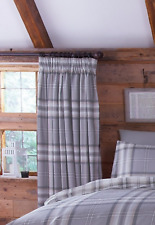 Catherine Lansfield Kelso Tartan Charcoal 66x72 Ready Made Fully Lined Curtains