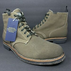 Polo Ralph Lauren Country Sportsman Men's Army Olive Green Canvas Boots Sz 11.5
