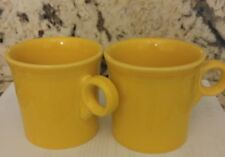 Two HLC Fiesta Ware O-Handled Yellow Coffee Mugs Cups