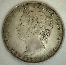1900 Newfoundland Silver 50 Cent Coin Very Fine Circulated Canada Victoria