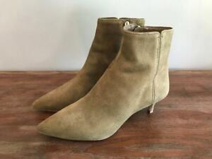 NEW JCrew $218 Fiona Kitten Heel Ankle Boots in Suede 7-M Cypress Olive AB101