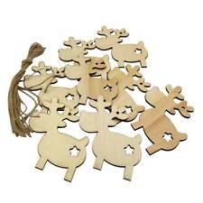 10Pcs Cute Christmas Wood Hanging Decoration Deer Reindeer Xmas DIY Craft Decor