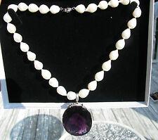 New Huge elegant  SS 130+ carat Quartz Amethyst 12-15mm cultured pearl necklace