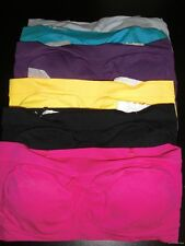 5pcs Bandeau Seamless Strapless TUBE Tops BRAS One Size Multi-Colors Regular