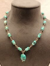 Dyed Howlite Turquoise Necklace Flat Round Beads Nugget Pendant Sterling Silver