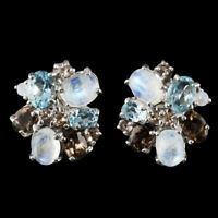 NATURAL 8X6MM RAINBOW MOONSTONE SKY BLUE TOPAZ SMOKY QUARTZ SILVER 925 EARRING