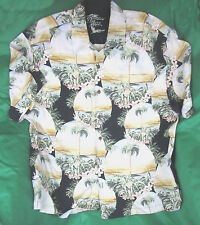 Tropical Shirt, 2XL XXL JAMAICA JAXX Black Palms Plumeria Sunset Sand 100% SILK